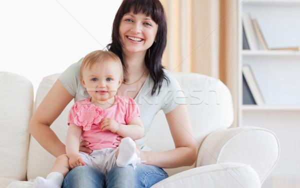 きれいな女性 赤ちゃん 腕 座って ソファ ストックフォト © wavebreak_media