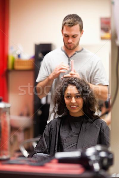 Portre adam saç tarak iş kadın Stok fotoğraf © wavebreak_media