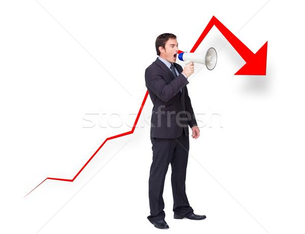 Mislukte jonge zakenman megafoon curve beneden Stockfoto © wavebreak_media