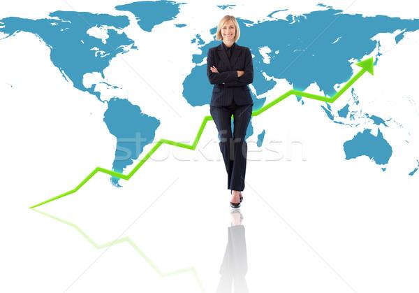 успешный международных деловая женщина Мир карта счастливым карта Сток-фото © wavebreak_media