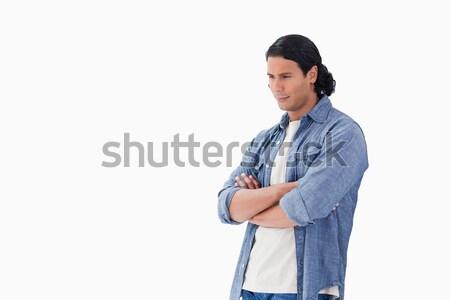 человека оружия глядя вниз белый синий Сток-фото © wavebreak_media