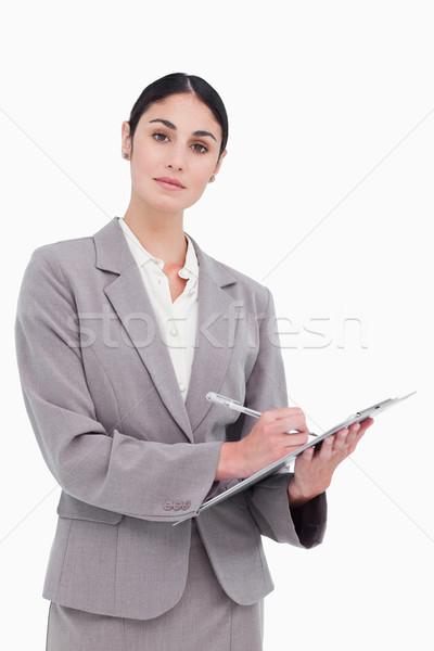 Zakenvrouw klaar merkt witte werk Stockfoto © wavebreak_media