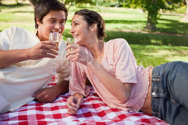 2 友達 笑みを浮かべて 眼鏡 トースト 赤 ストックフォト © wavebreak_media