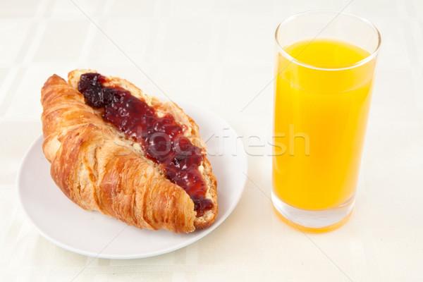 Kruvasan cam portakal suyu beyaz gıda Stok fotoğraf © wavebreak_media