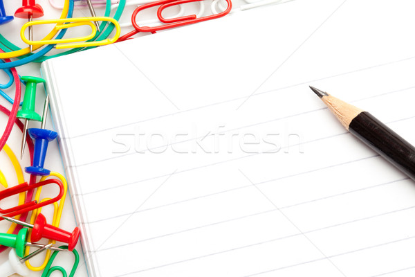 Jegyzettömb nagyobb csoport irodaszer ceruza fehér üzlet Stock fotó © wavebreak_media