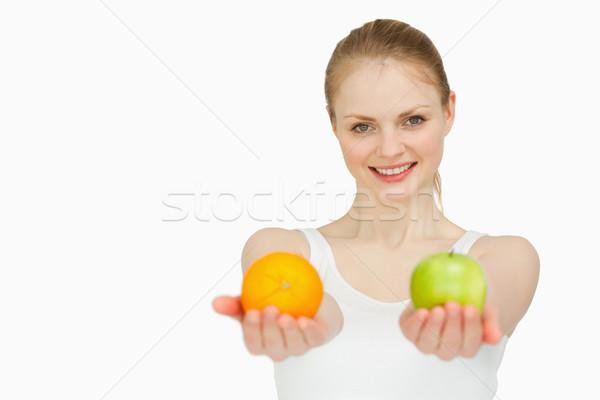 Lächelnd Früchte weiß Hand Stock foto © wavebreak_media