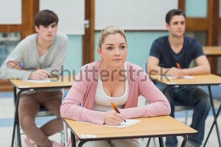Stock fotó: Tanár · beszél · diák · osztályterem · férfi · munka