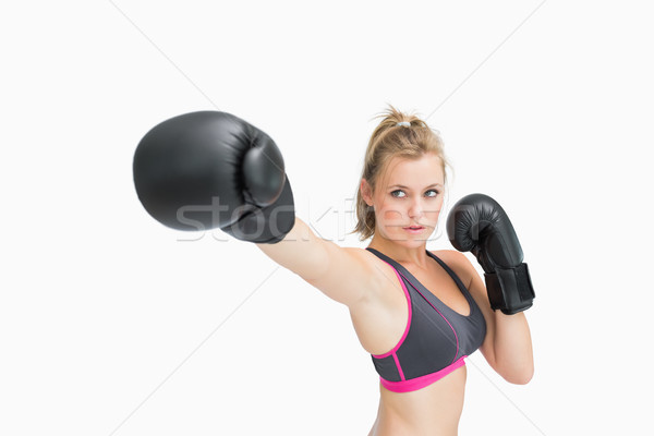 Mulher luvas de boxe ar corpo esportes feminino Foto stock © wavebreak_media