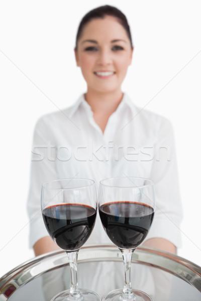 Srebrny taca okulary wino czerwone szczęśliwy Zdjęcia stock © wavebreak_media