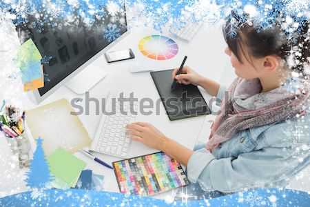 Artist drawing something on graphic tablet at office Stock photo © wavebreak_media