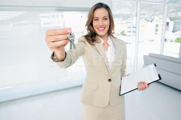красивой счастливым женщину дома ключами портрет Сток-фото © wavebreak_media