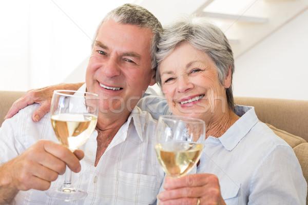 Vergadering bank witte wijn home woonkamer Stockfoto © wavebreak_media