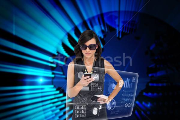 Brunette smartphone interface composite numérique ordinateur Photo stock © wavebreak_media