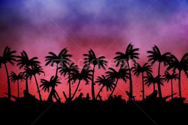 Digitalmente gerado palmeira rosa roxo Foto stock © wavebreak_media