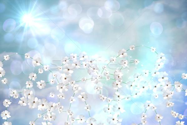 デジタル 生成された 花 白い花 青 ストックフォト © wavebreak_media
