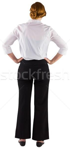 Kobieta interesu stałego ręce biodra biały korporacyjnych Zdjęcia stock © wavebreak_media