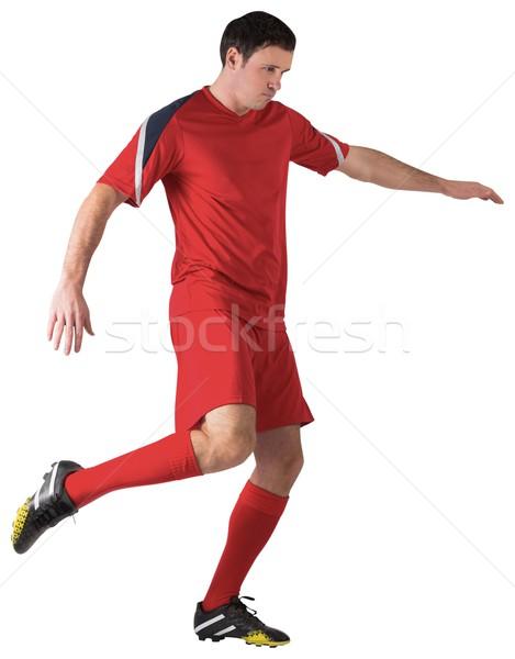 Voetballer Rood witte man voetbal Stockfoto © wavebreak_media