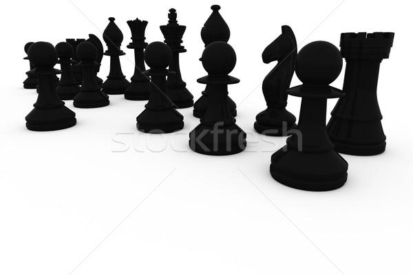 Fekete sakkfigurák csetepaté fehér sakk digitális Stock fotó © wavebreak_media