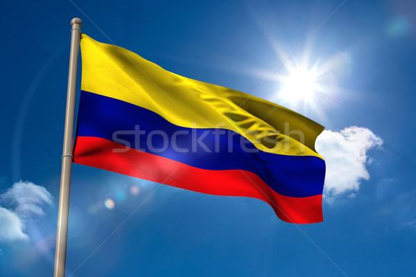 Kolumbia banderą maszt Błękitne niebo słońce cyfrowe Zdjęcia stock © wavebreak_media