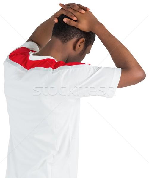 Stock fotó: Csalódott · futball · ventillátor · lefelé · néz · fehér · energia