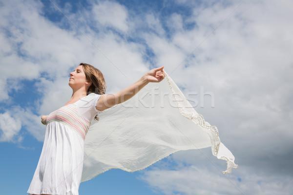 женщину из шарф Blue Sky облака Сток-фото © wavebreak_media