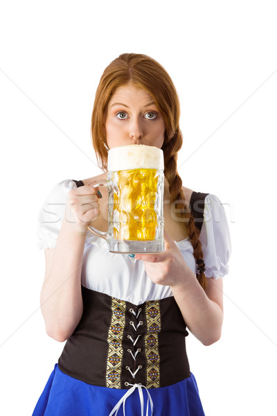 Oktoberfest lány iszik kancsó sör fehér Stock fotó © wavebreak_media
