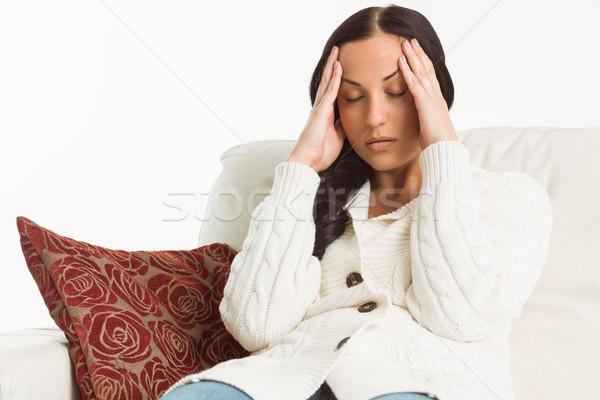 Vrouw lijden migraine witte gezondheid hoofd Stockfoto © wavebreak_media