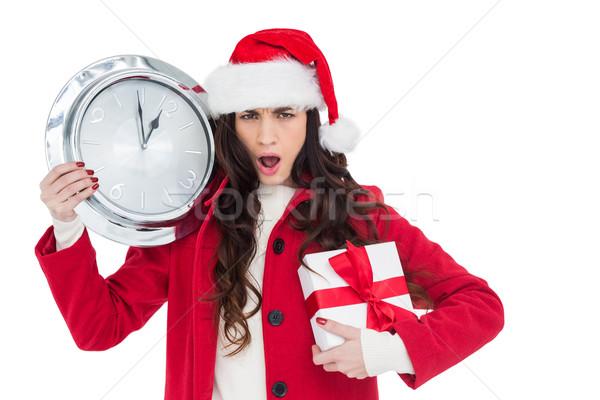 Photo stock: étonné · brunette · horloge · cadeau · blanche