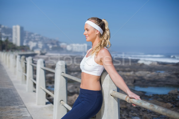 Fit blonde standing on the pier Stock photo © wavebreak_media