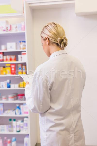 Сток-фото: фармацевт · буфер · обмена · аптека · счастливым · медицинской