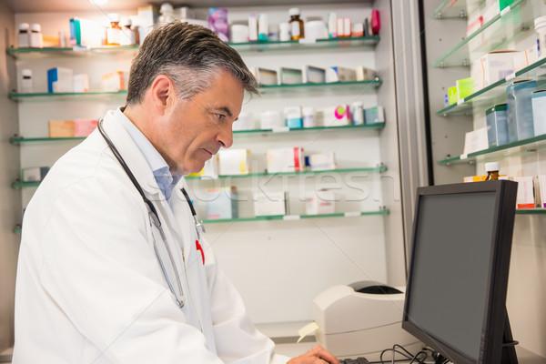 Foto stock: Farmacêutico · hospital · farmácia · computador