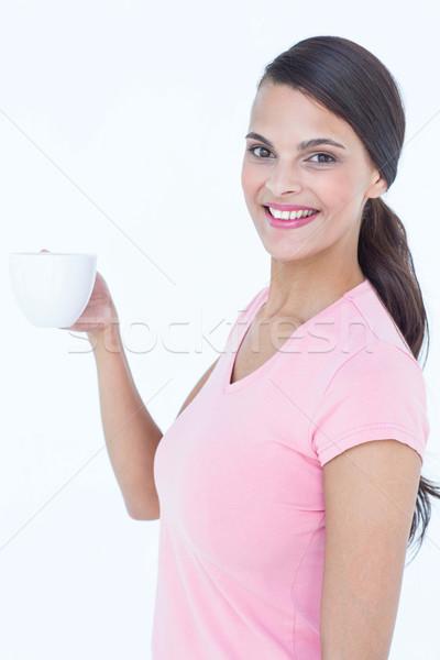 довольно брюнетка чашку кофе белый Кубок Сток-фото © wavebreak_media