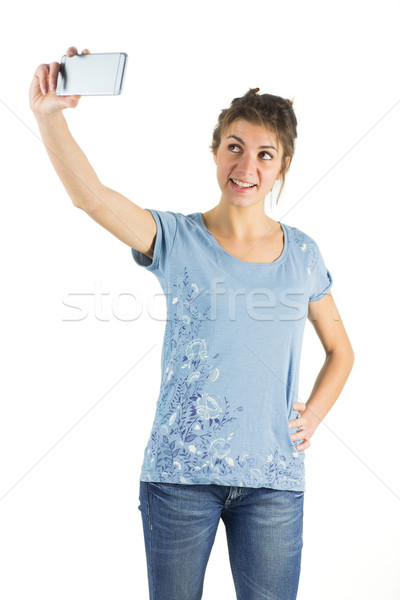 Toevallig brunette shot studio gelukkig Stockfoto © wavebreak_media