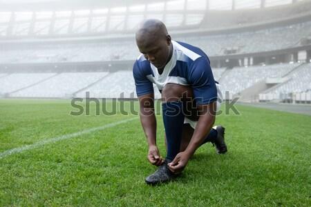 Rugby gracz gotowy spadek kopać Zdjęcia stock © wavebreak_media