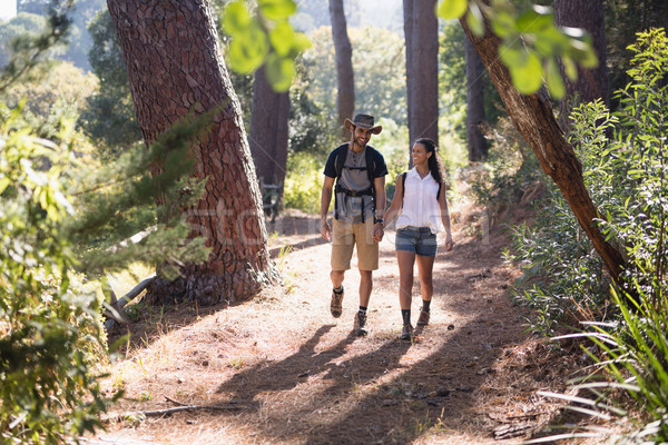Happy couple hiking on trail in forest Stock photo © wavebreak_media