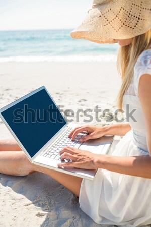 Férfi táblagép függőágy tengerpart telefon természet Stock fotó © wavebreak_media
