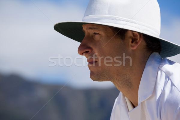 Zijaanzicht gericht scheidsrechter hemel cricket wedstrijd Stockfoto © wavebreak_media