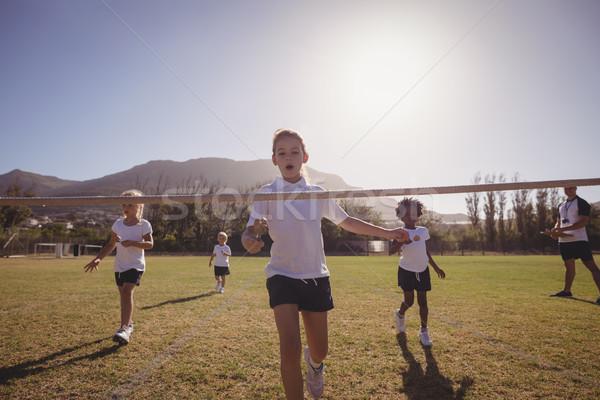 女子学生 を実行して 行 卵 スプーン ストックフォト © wavebreak_media
