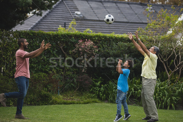 Happy multi-generation family playing with soccer ball at park Stock photo © wavebreak_media