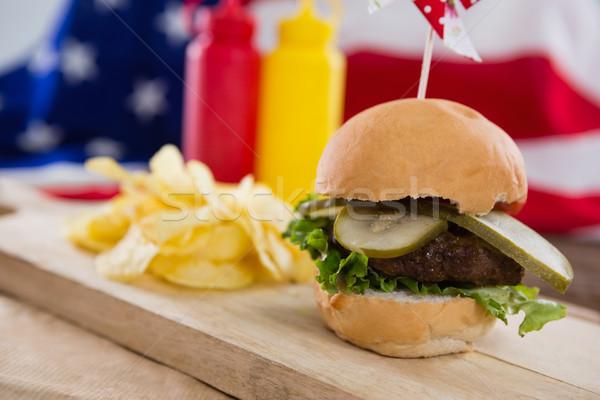 クローズアップ ハンバーガー 木板 食品 フルーツ ストックフォト © wavebreak_media
