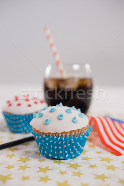 Close-up of drink and cupcake with 4th july theme Stock photo © wavebreak_media
