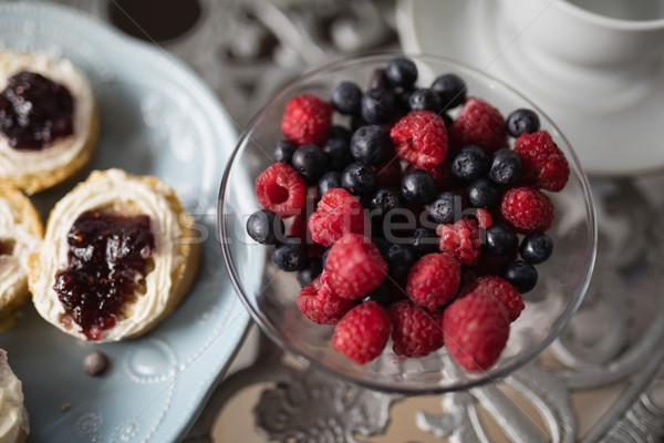 High angle view of berry fruits in bowl on table Stock photo © wavebreak_media