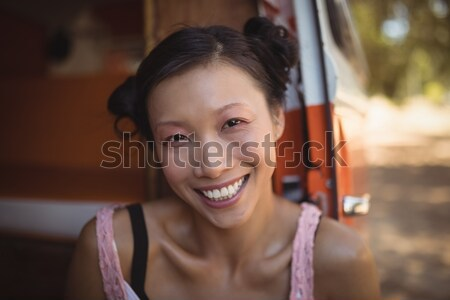 Sorridente menina ovos farinha nariz Foto stock © wavebreak_media