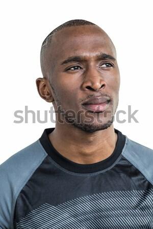 Zamyślony sportowiec biały myślenia mężczyzna Zdjęcia stock © wavebreak_media