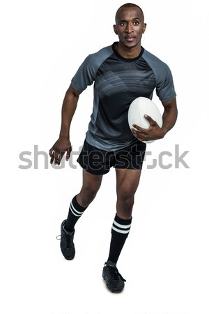 спортсмена работает мяч для регби белый спорт фитнес Сток-фото © wavebreak_media
