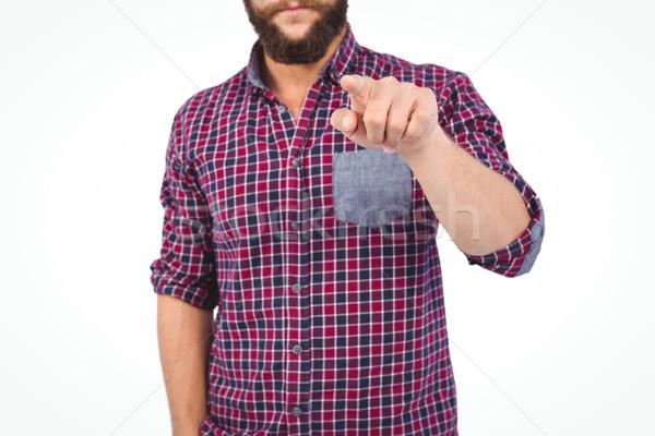 Homme pointant blanche signe cool Photo stock © wavebreak_media