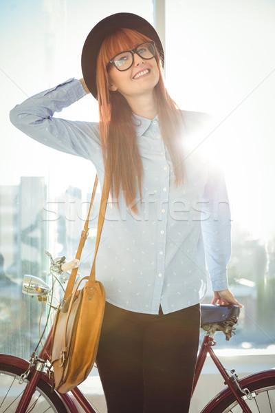 Mosolyog hipszter nő dől bicikli fényes Stock fotó © wavebreak_media
