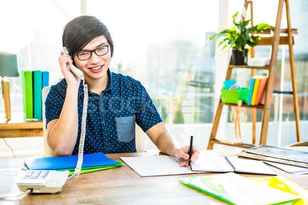 Fókuszált hipszter üzletember ír iroda férfi Stock fotó © wavebreak_media