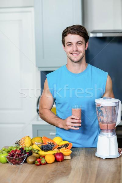 Egészséges férfi smoothie konyha boldog otthon Stock fotó © wavebreak_media