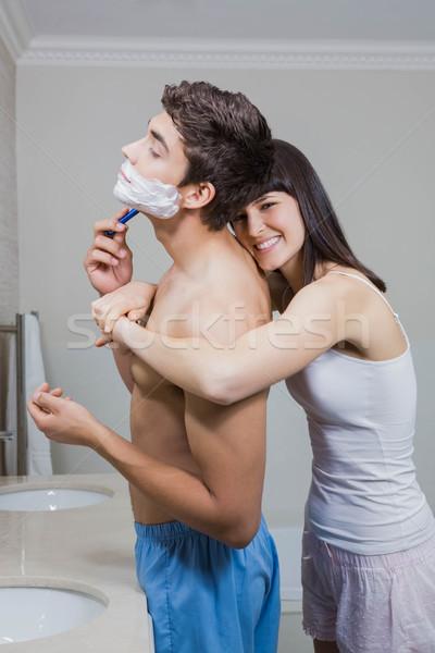 Bathroom routine for happy young couple Stock photo © wavebreak_media